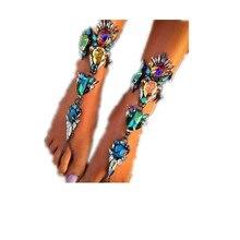 Новый 2016 преувеличение поп сплава jewel инкрустированный браслеты Производители, продающие популярная личность цепь ноги