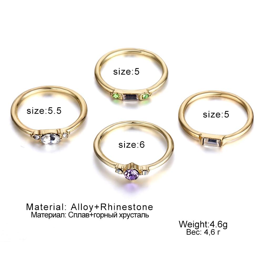 IPARAM 4 Pcs/set Crystal Zircon Gold Ring Set 19 Vintage Bohemian Women Engagement Party Ring Set Jewelry 4