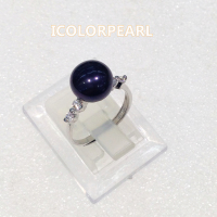 Natural Black/White/Pink/Purple/Grey Semiround Freshwater Pearl Ring With Crystal /925 Sterling Silver ( Open Size,adjustable)