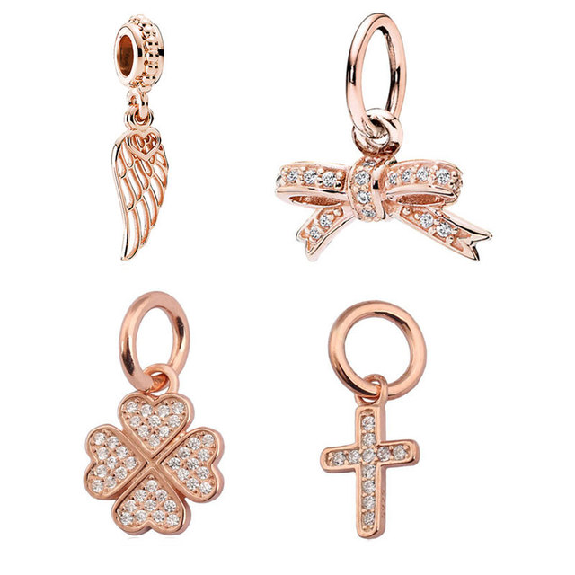 Rose Gold Feather Bow Lucky In Love Clover Symbol Of Faith Pendant