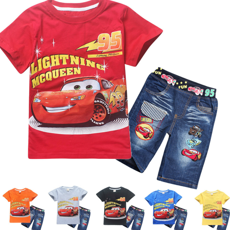 100% Cotton Kids Summer Clothes 2pcs T-shirts + Pants Cartoon Car Children Clothing Set Girls and Boys Top Tees Sports Suit hooyi 2017 autumn boys clothes set crane kids tees trousers 100% cotton children sport suit sets t shirts pant tracksuits