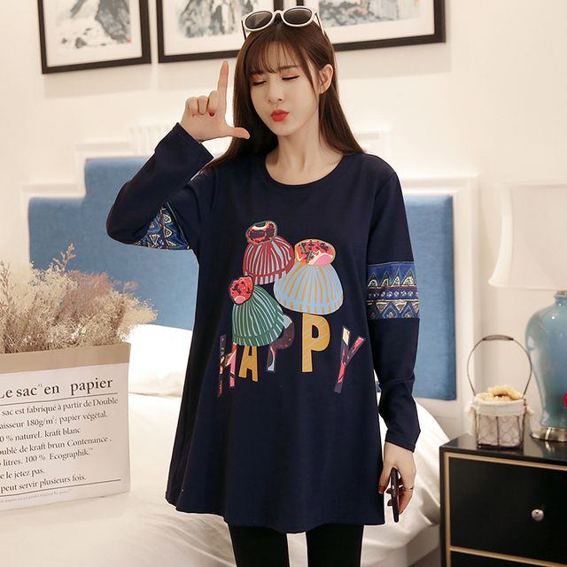 2018 New Fashion Korean Spring And Autumn Pregnant Women T-shirts Loose Long  Sleeve Casual