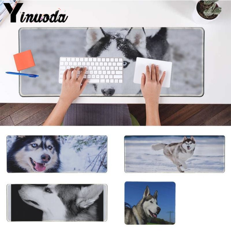 Yinuoda Husky dog mouse pad gamer play mats Size for 30x90cm 40x90cm lager/small desk pad Gaming Mousepads