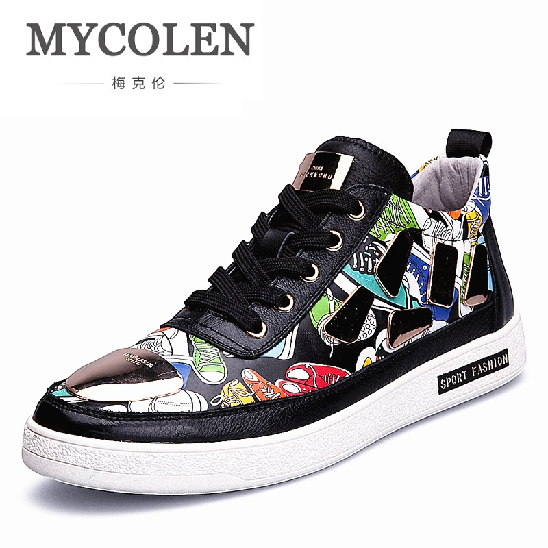 MYCOLEN 2018 New Street Style Men's Casual Shoes Spring Autumn High Boots Lace Up High Top Men Shoes Zapato Hombre Piel