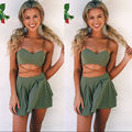 2016 Sexy Women Bandage Bodycon Crop Tops and Party Shorts Jumpsuit 2pcs Outfit Clothes Set
