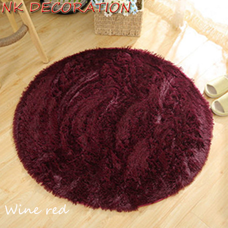 NK DECORATION 100cm Wine Red Round Carpet Soft and Fluffy and Comfortable Non-Slip Rug Carpets Yoga For Living Room Kids Room