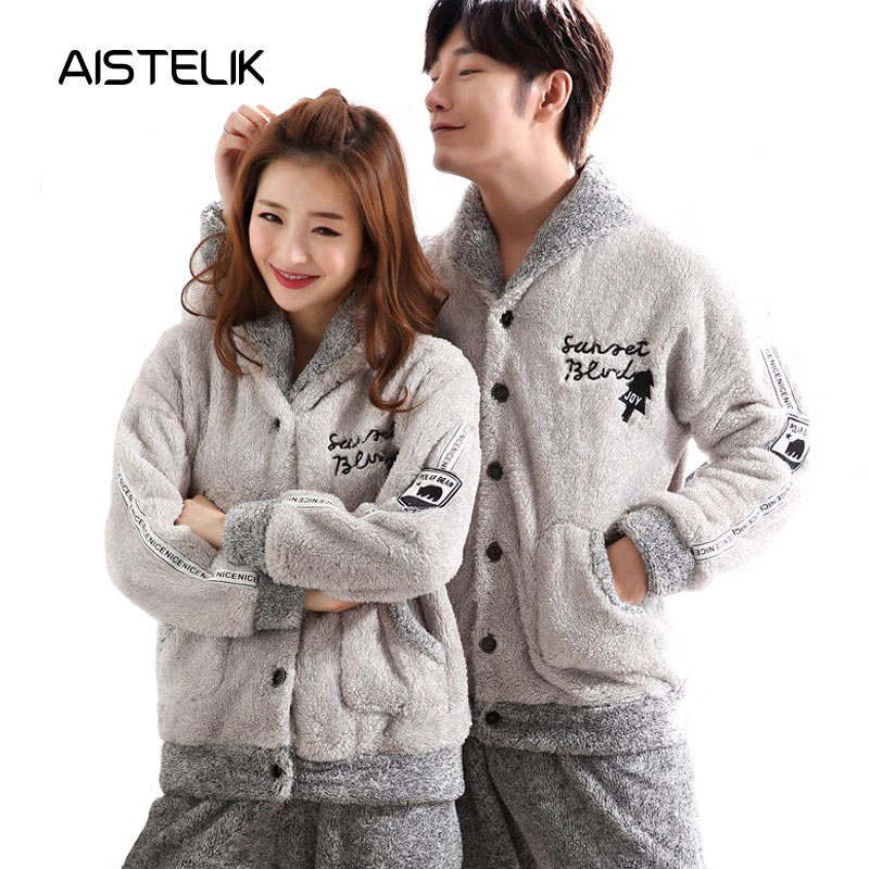 Autumn And Winter Couple Pajamas Thick Warm Cardigan Flannel Men And Women Home Service Warm Suit Men And Women Sleepwear