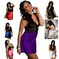 6 Цвет Более Размер XL-4L Сексуальный Атласные Кружева Белье Эротическое Ночной Рубашке Пижамы Кимоно Пижамы Скользит Шелковое Платье Халат Высокое Качество
