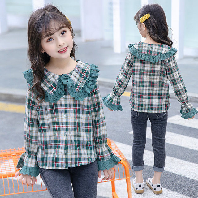 Blouses Baby Girl 2020 Autumn Cotton Shirt for Teens Kids Plaid Blouse Big Collar 4 5 7 9 11 13 Years Girl Clothes Teenagers