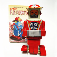 [Funny] Adult Collection Retro Wind up toy Metal Tin fire man Space F.D.ROBOT Mechanical Clockwork toy figures model kids gift