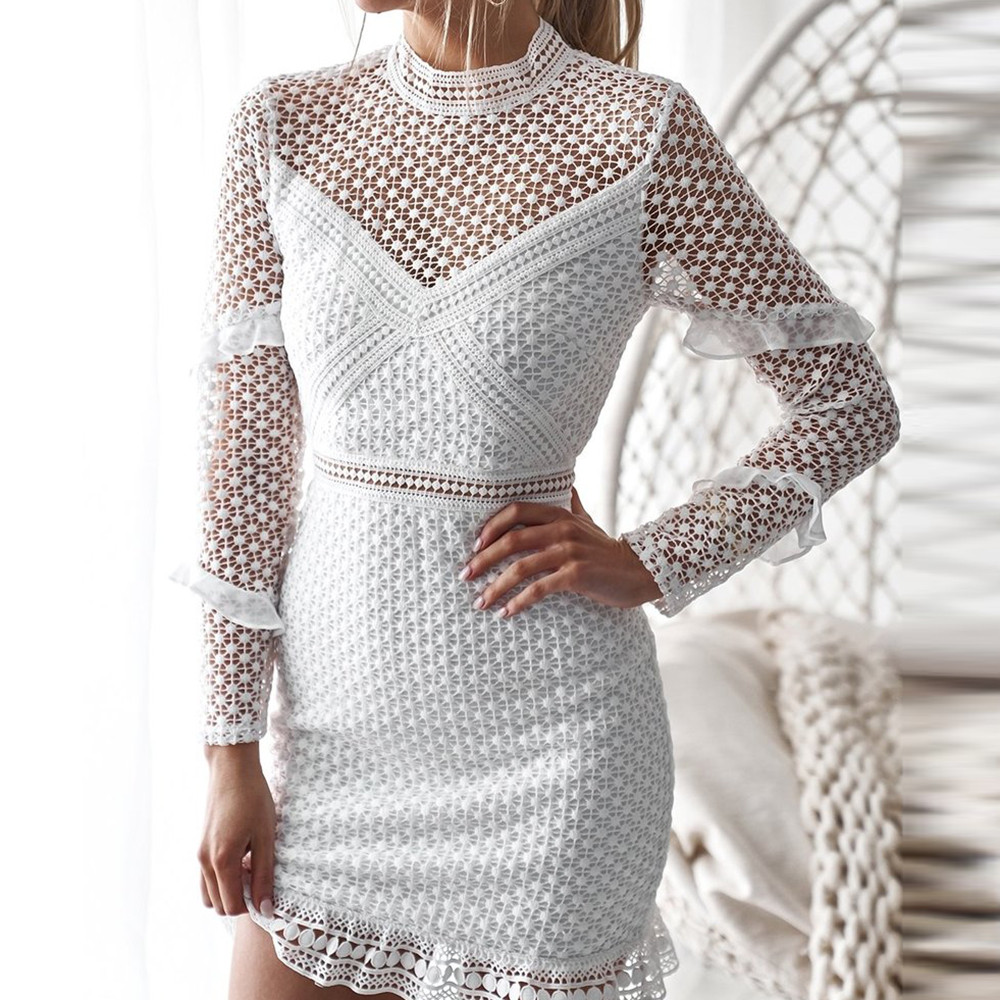 FeiTong Elegant Lace hollow out sexy bodycon women dresses Ruffle long  sleeve mesh dress spring Vintage af45d0ee86df