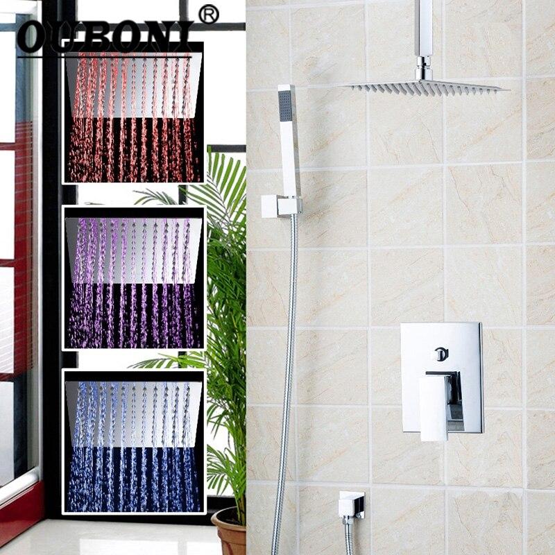 LED Luxury Chrome Rain Shower Head Arm Set Faucet Bathroom Wall Mounted Shower Set Faucets new european style wall mounted bathroom polished chrome rain shower faucet set