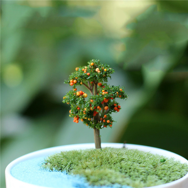 1PC Mini Tree Artificial Garden Miniature Resin Craft Home Decoration Micro Landscape Bonsai Plant 1