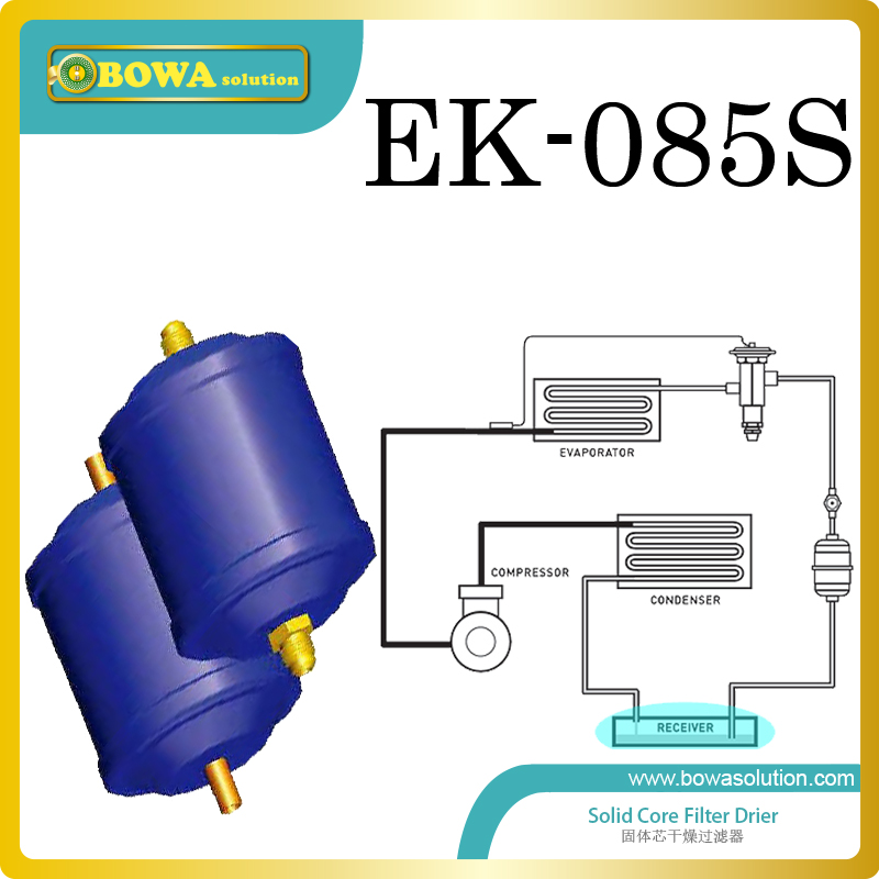 EK085S hermetic filter driers are installed in seafood machine to remove refrigerant's mositure replace Sporlan Filter driers fda 4813 replaceable core filter driers are designed to be used in both the liquid and suction lines of water chiller systems
