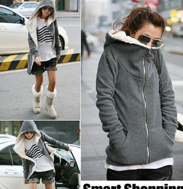Womens Hooded Jacket,Long Sleeve Fleece Thicken Warm -3327