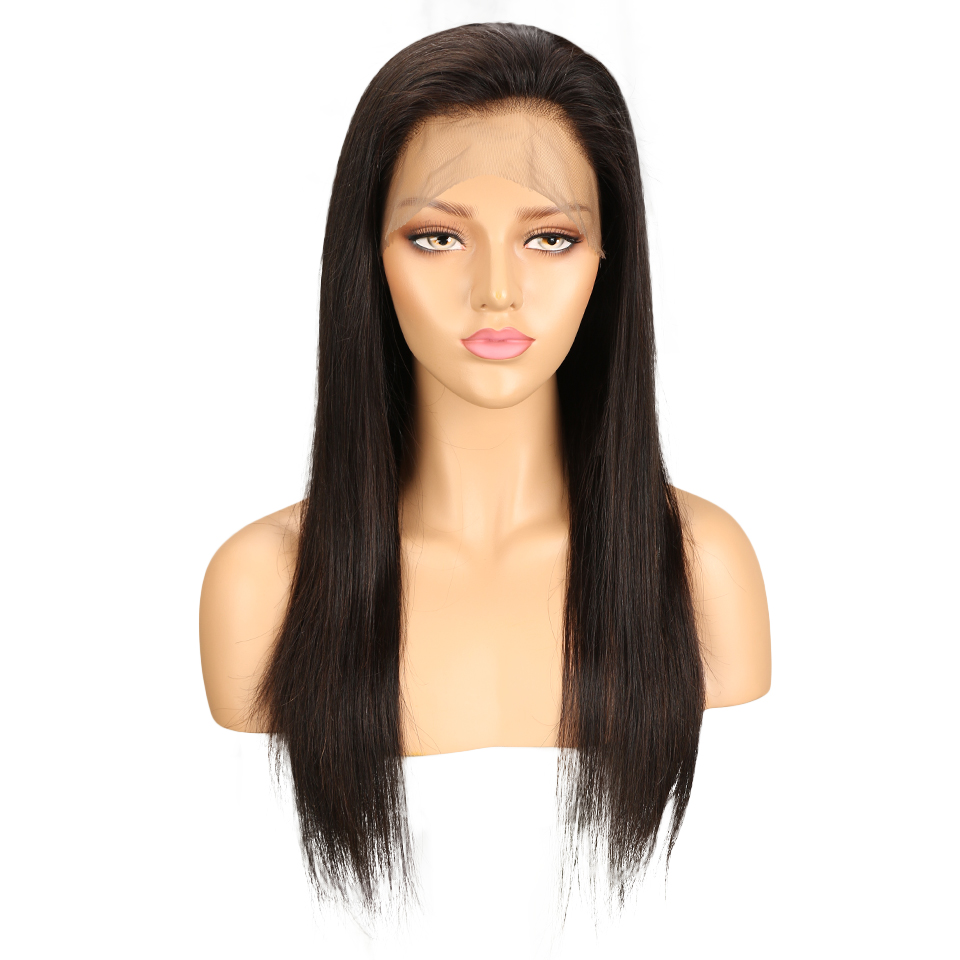 Sleek 360 Frontal Peruvian Human Remy Hair Wigs Straight Wigs With Baby Hair For Black Women Natural Color 10 To 24 Inch
