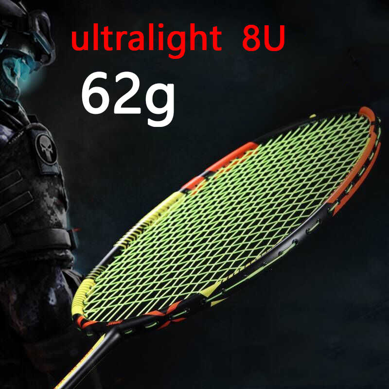 Ultralight Strung 8U 62g Full Carbon Badminton Racket Professional Multicolor Strings Bags Padel Rackets Sports Raquetas