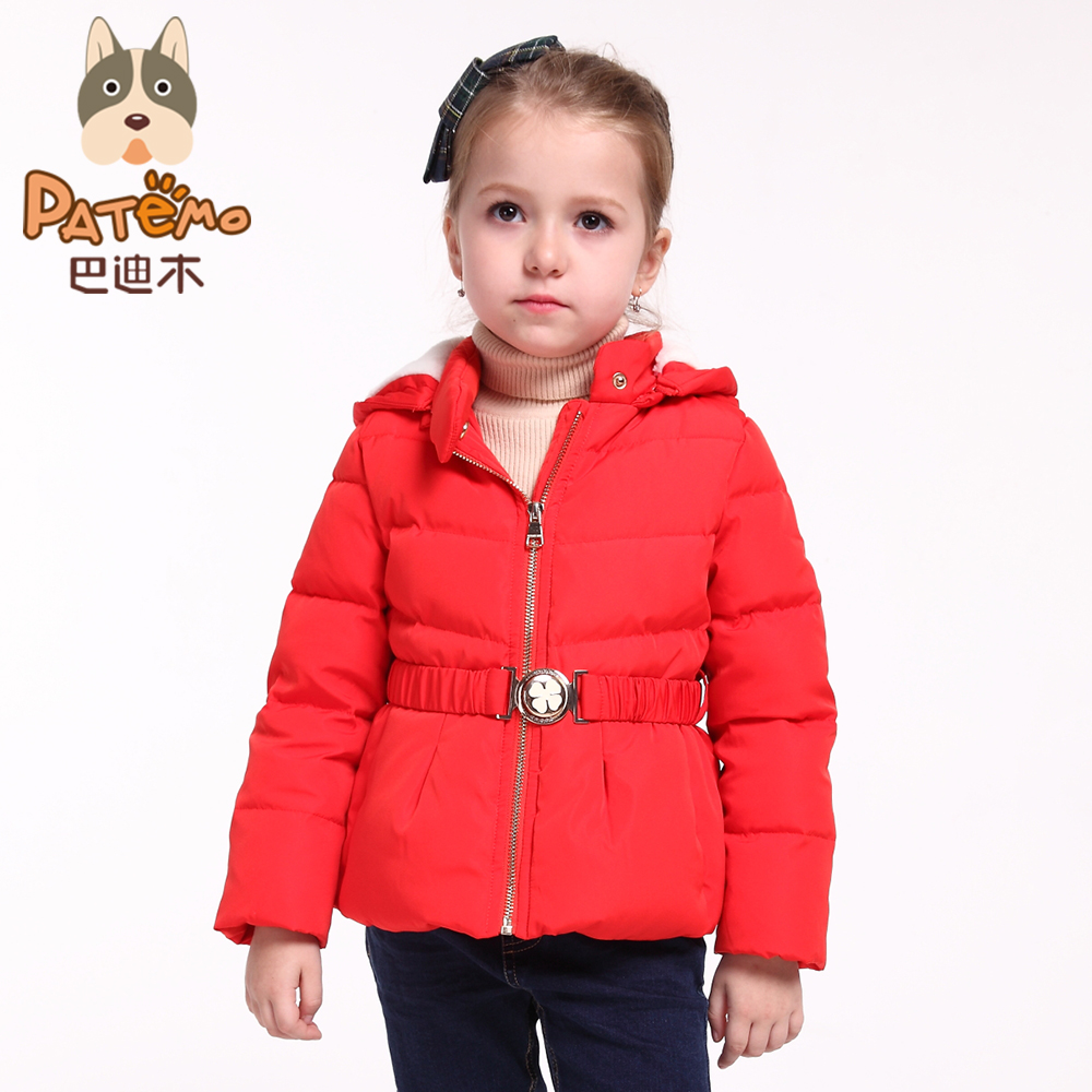 PATEMO Down Jacket for Girls Winter Red Outerwear Coat Warm Parka Coats for Girls Yellow Size 4T~10T 2017 Kids Winter Clothing