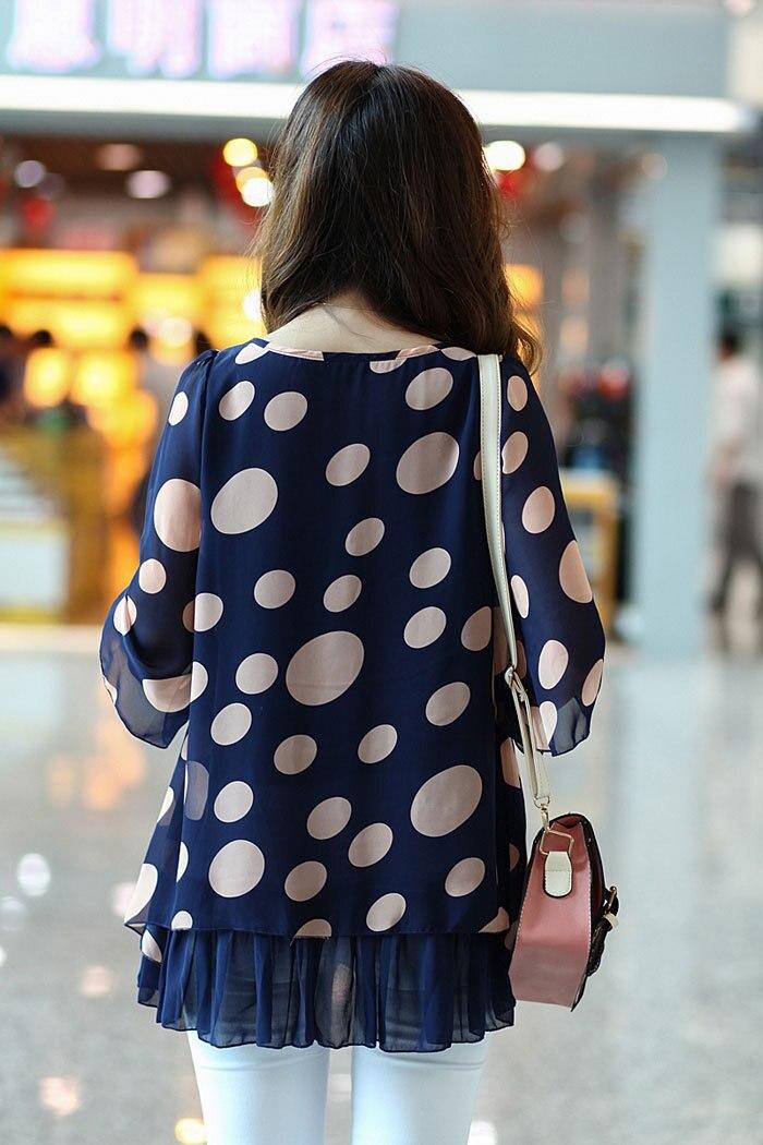 Media cuello 2016 Moda Manga Tamaño Camisas O Tops Chiffon Más Otoño Azul Primavera Y Mujeres Estilo fAq7fR
