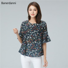 Banerdanni New Women product Flower Print Chiffon Blouse Summer Batwing sleeve Simple Blouse Plus Size 5XL Loose Female Top plus flower print flutter sleeve top