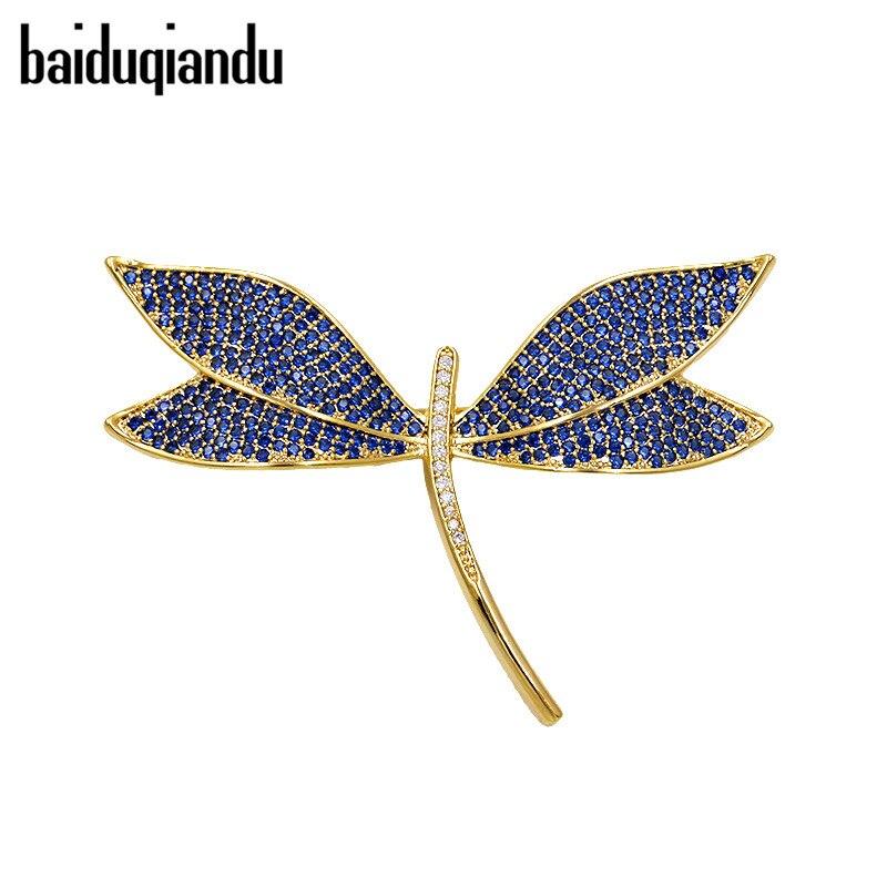 Baiduqiandu alta calidad del muti-color libélula insecto broche mujeres cristal pavimentado CZ Rhinestone ramillete Ropa Accesorios