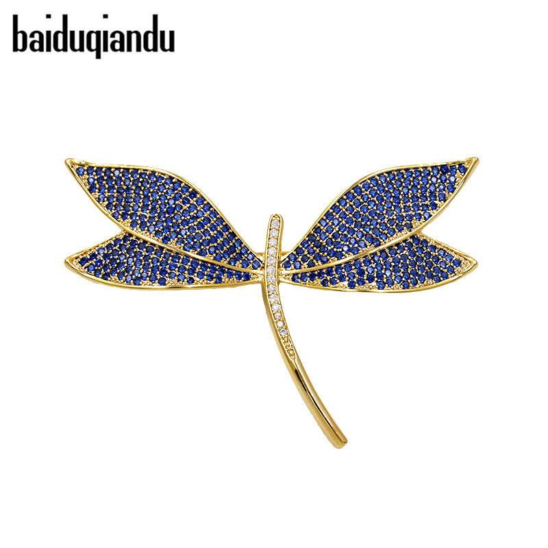 baiduqiandu High Quality Muti-color Dragonfly Insect Brooch Women Paved Crystal CZ Rhinestone Pin Corsage Apparel Accessories