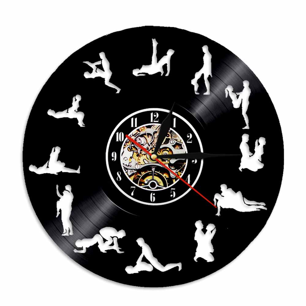 24 Hours Sex Position Vinyl Record Wall Clock Silhouette LED Backlight Modern Vintage Home Decor Bedroom Wall Art