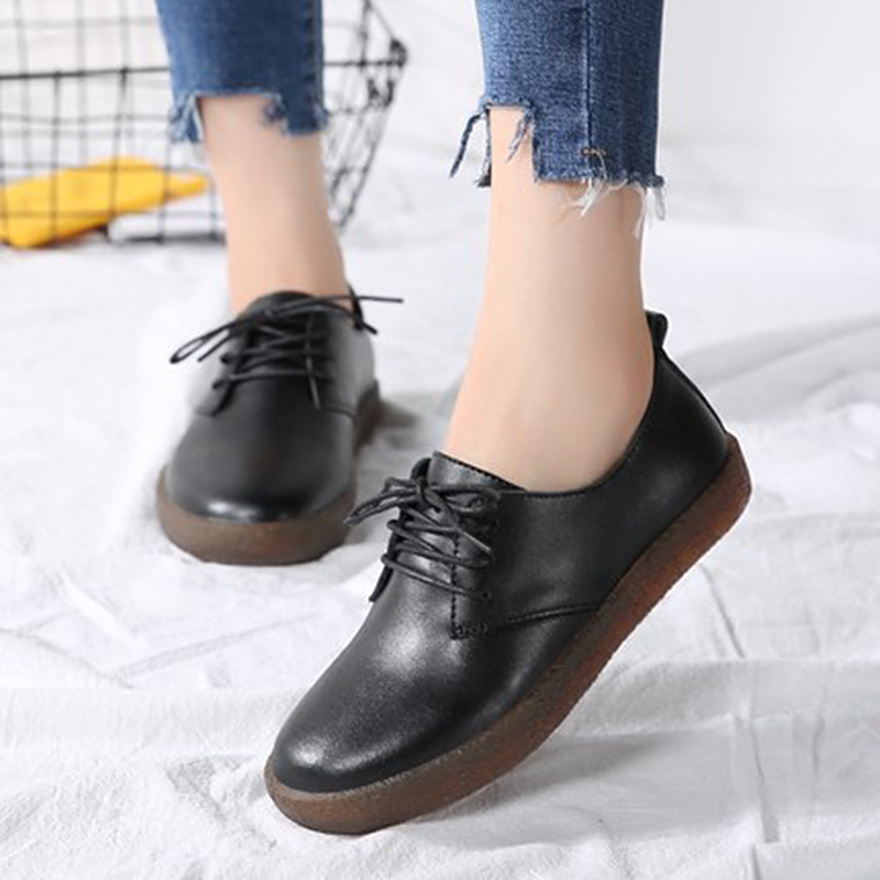2018 New Leather Ladies Lacing Loafers Women flats Flat Shoes Casual Leather Shoes For Women Spring Summer Zapatos Mujer summer women flats shoes casual flat women shoes slips flat women loafers shoes slips leather black flat s women s shoes