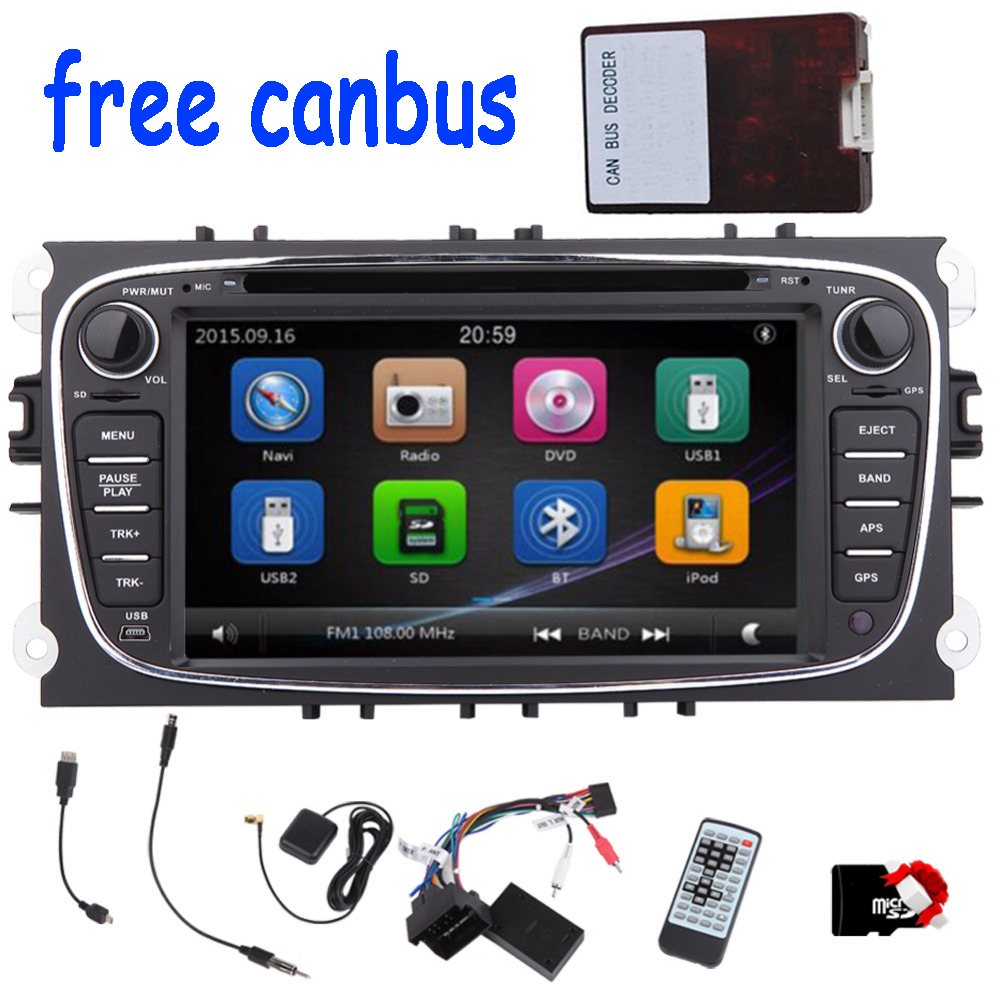 2din Car DVD Player GPS Navigation player For Ford Mondeo and Focus Autoradio 2din Radio Stereo HeadUnit steering wheel+CANBUS 2din car pc dvd gps navigation for 2din car map dvd player car autoradio multimedia stereo audio sd usb bluetooth steering wheel
