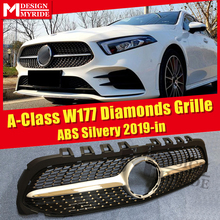 A class W177 Sport grille grill Diamonds style ABS Silver Without Camera A180 A200 A220 A250 A45 look grills Sign 2019+