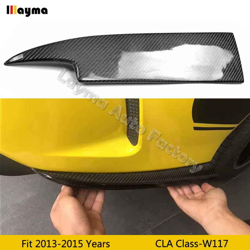 Pare-chocs arrière en Fiber de carbone ajouter sur le séparateur Aero tablier aileron aile latérale pour Benz CLA W117 2013-2018 an (seul pare-chocs sport fit)