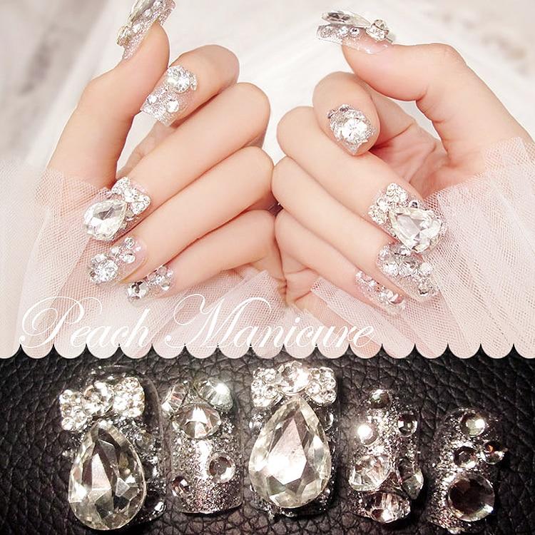24PCS finished product of false nails Shining jewel The bride nail (Contains no glue)
