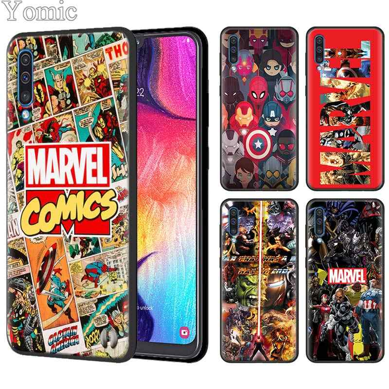 Marvel Superheroes The Avengers Silicone Case for Samsung Galaxy A50 A70 A10 A20 A30 A40 A6 A7 A8 Plus A9 M30 M20 Black Case Cov