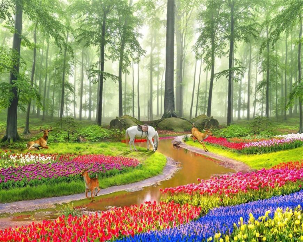 beibehang papel de parede Beautiful HD Wallpaper HD dream forest landscape painting background wall flowers 3D