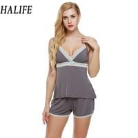 HALIFE Summer Pyjamas Women Nightwear Shorts Set V Neck Sleepwear Pajama Spaghetti Strap Lace Pajamas Set