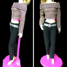 1Set Casual Doll Clothes Long Sleeve Top Black Trousers Pants for Barbie Doll House for 1