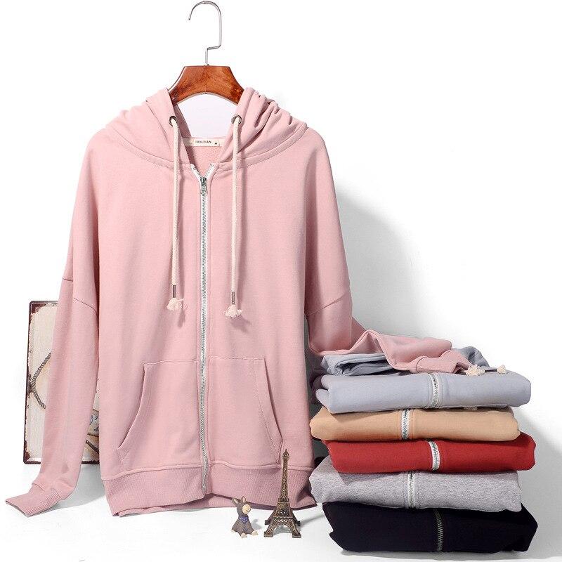 Для женщин одежда, с капюшоном, на осень зиму топ с длинными рукавами 2018 обувь с застежкой молнией в студенческом стиле чистого Разноцветные куртки LQ0096 - 3