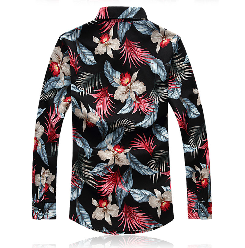 Mens Floral Shirt Plus Size 7XL Business Leisure Print Shirt Men 2018 Spring New Slim Long Sleeve Dress Shirts Chemise Homme