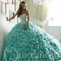 Azul Querida Luxo Cristal Vestidos Quinceanera Vestidos de 15 Anos Fora do Ombro Vestido De Baile para Meninas Debutante Vestido
