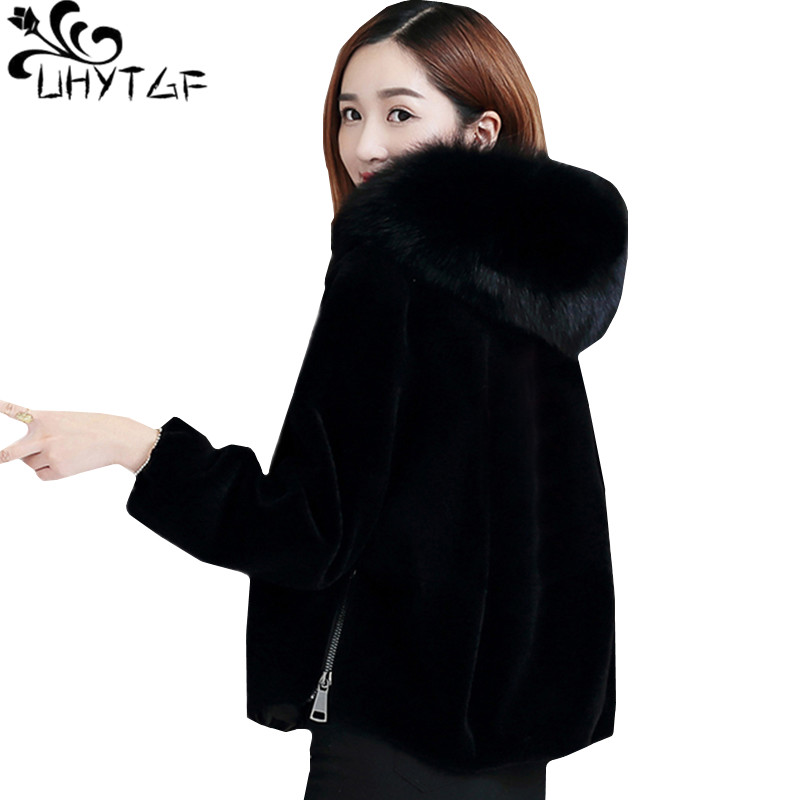 UHYTGF New Winter Faux Fur Coat Short Jacket Women Imitation Fox Fur Collar Hooded Black Fur Coat Zipper Plus Size Outerwear 758