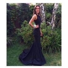 Neue Ankunft Einfache Memriad Schwarz abendkleid Zipper-Up Zurück Stil Lange Satin Abendkleid Vestidos De Noche
