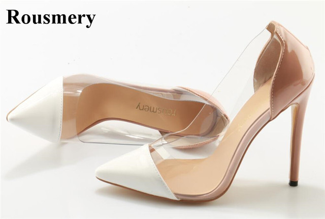 ff927daf6f77 Women Classical Design Pointed Toe PVC Patent Leather Patchwork Pumps  Transparent Slip-on High Heels Dress Shoes Wedding Shoes