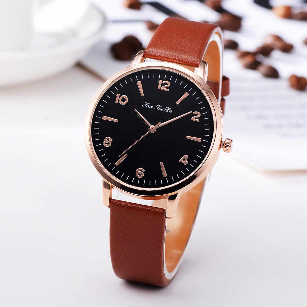 Relojes de pulsera redondos de cuarzo analógicos con banda de cuero de lujo para mujer, relojes de pulsera para mujer, reloj femenino, saati #180212H