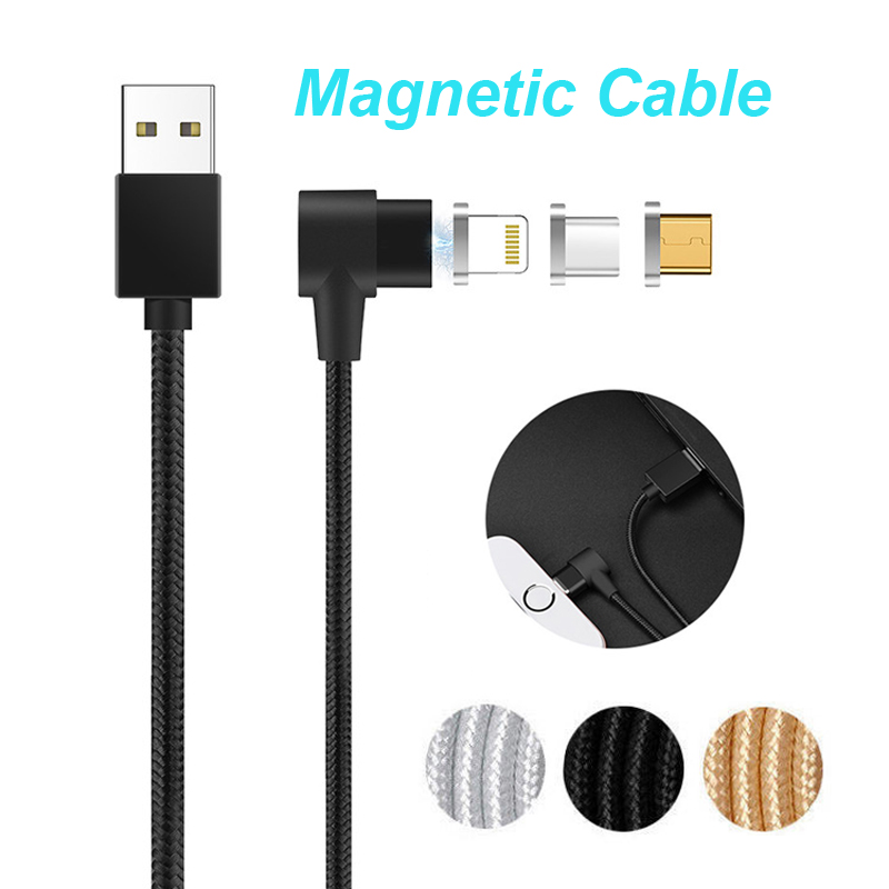Galleria fotografica L Shape Elbow Magnetic Charger Cable IOS/Micro USB/USB-C Type C USB Charging Cord Lead for iPhone For Samsung LG Android Phone