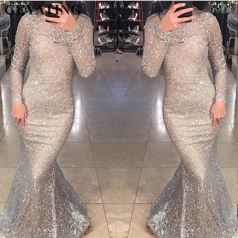 Shiny Silver Sequins Dubai Mermaid Evening Dress Long Sleeves Arabic Formal Prom Dresses 2019 Gold Bodycon Maxi Dress Party Gown gown