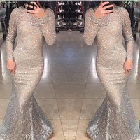 Shiny Silver Sequins Dubai Mermaid Evening Dress Long Sleeves Arabic Formal Prom Dresses 2019 Gold Bodycon Maxi Dress Party Gown