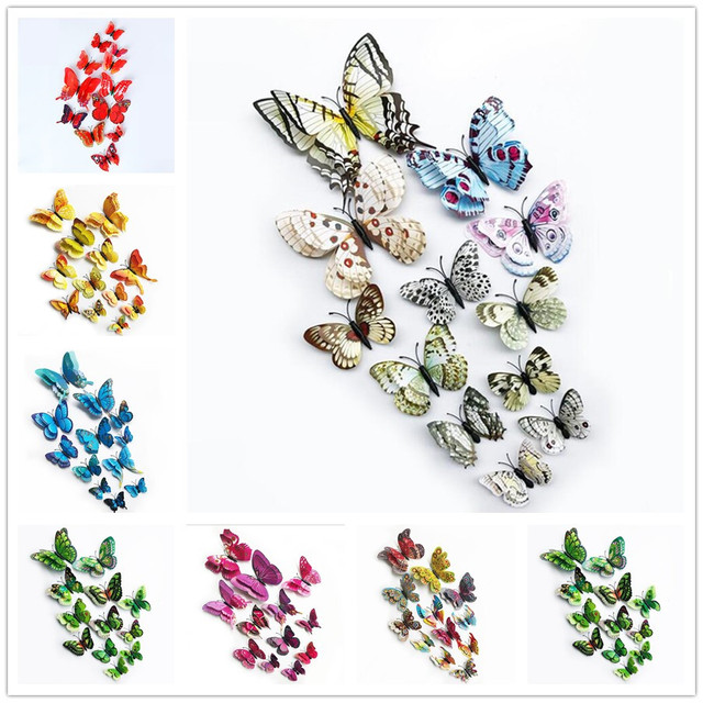 %12Pcs 3D Double layer Butterfly Wall Sticker on the wall for Home Decor DIY Butterflies Fridge Magnet stickers Room Decoration