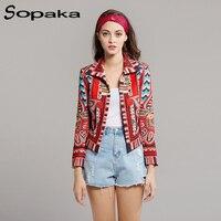 Multicolor 2019 Spring European Style Boho Hippie Crop Jacket Geometry Striped Print Slim Long Sleeve Short Coat For Women