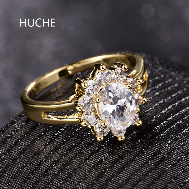 HUCHE Infinity Flower Ladies Finger Band Rings for Women Oval White Crystal CZ Zircon Gold Color Engagement Ring Jewelry HYJR332