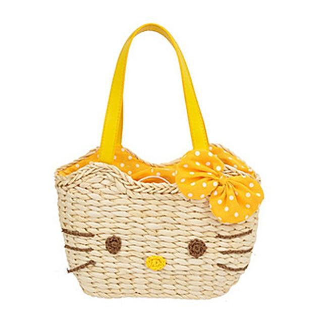 New children cute hello kitty straw bag / women straw handbag cartoon bag bolsas mochila Freeship instock